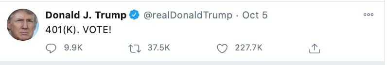2020 election and tweet saying 401k vote