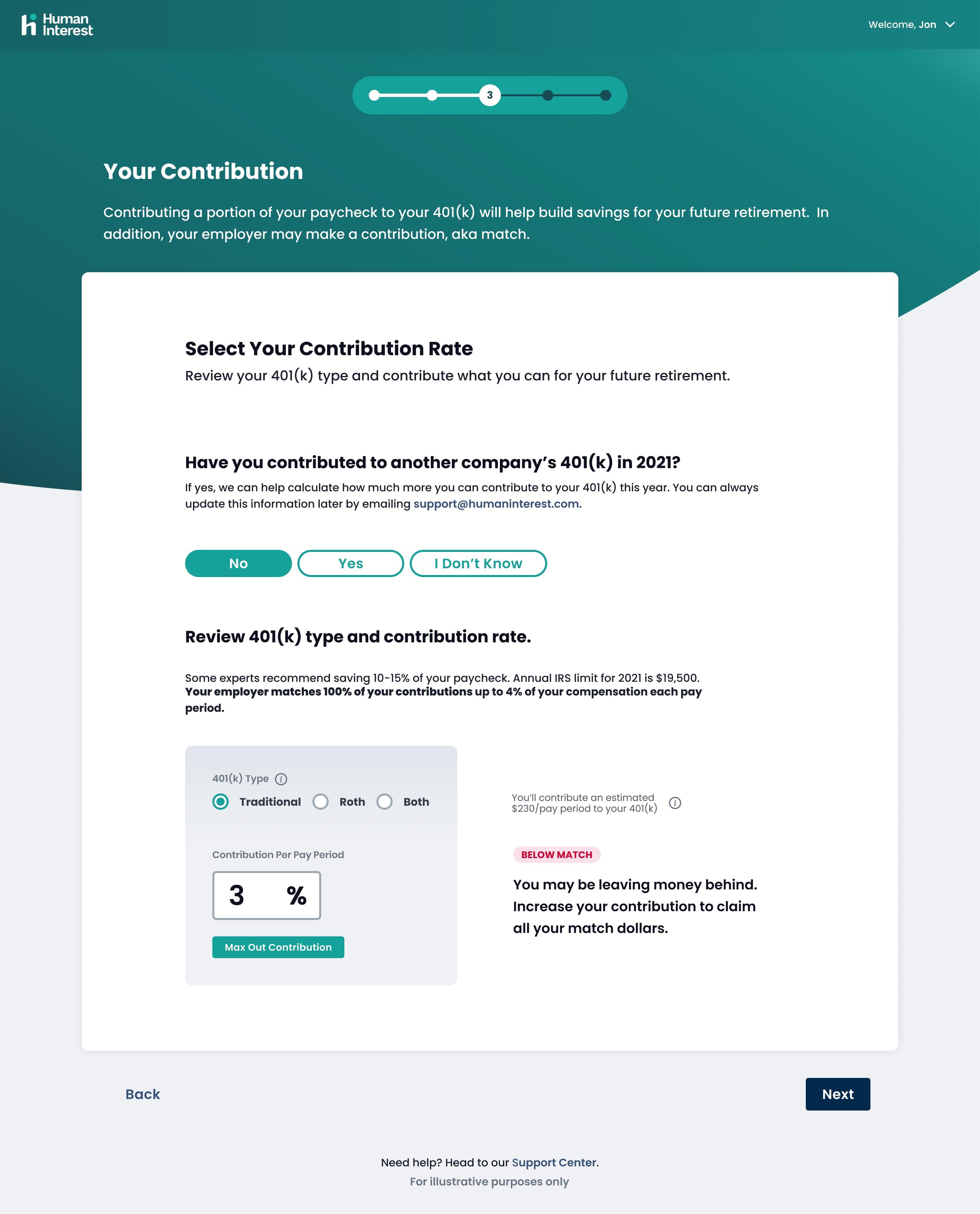 Participant Enrollment: Contribution Rate Step - Below Match